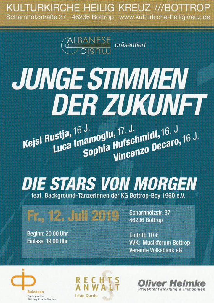 Freitag, 12.Juli 2019 Junge Stimmen der Zukunft, die Stars von Morgen